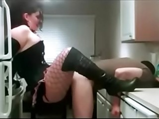 Chubby Dominant Girlfriend fucks her BF hard with strap-on in kitchen, Femdom