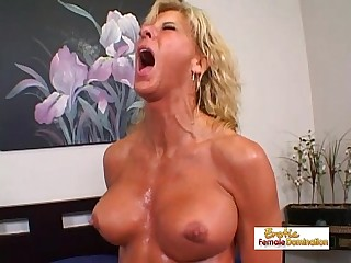 Muscular blonde slut gets jizz on her tits and on her face
