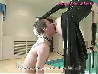 Mistress in latex dress dominate her slave and deep rimjob humiliation.