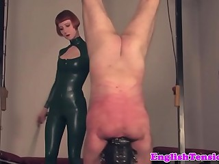 Dominant mistress whipping pathetic sub