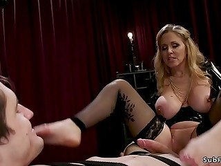 Big tits mistress whips and anal fucks guy
