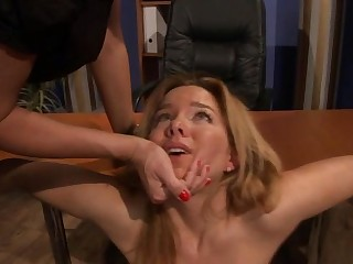 Dyke lezdom mistress dildofucks her sub
