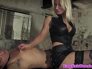 Highheels mistress dominating pathetic sub