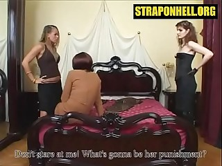 Femdom session with sissy boy and two mistresses