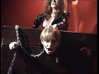 Cute girl in the stocks brutalized by mistress Jessica Rizzo
