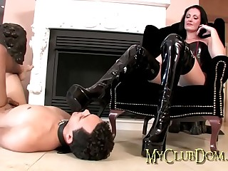 Mistress gets her boots licked clean