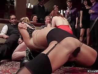 Mistress made ebony fuck at orgy party