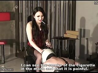 Dominant Mistress Saran Smoking and CBT