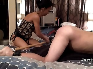 Mistress Cherry Price fucks her slave in ass with huge dildo