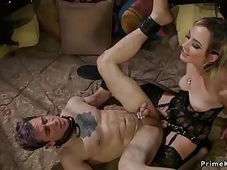 Blonde in glamorous lingerie fucks slave