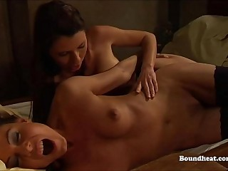 Lesbian sex slaves getting trained a humped by mistress
