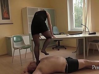 Soft Trampling in Tights - German Mistress Lady Deluxe in Soft Trample Scene