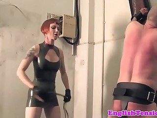 Redhead prison gaurd whipping sub in cell