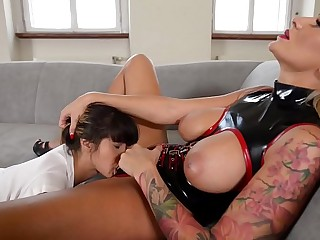Hungarian Dominatrix Kayla Green spanks and flogs Russian subby Mona Kim