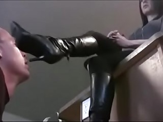 Slave licking Mistress boots sole