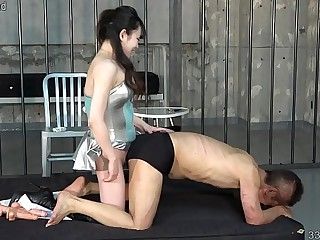 Japanese Mistress Rui Strapon Fucks Slave