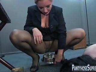 Mistress Dia Zerva pantyhose punishment of male