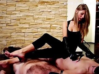 Two slave guys serve their beautiful goddess. Femdom worship.