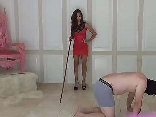 Hard whipping by hot mistress