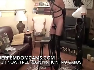 Femdom BDSM Sadictic Latex Mistress Fucks Slave With Strap On On Cam
