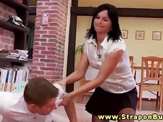 Strapon femdom babes overpower dude