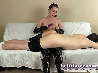 FemDom spanking his ass with my hairbrush hands and riding crop