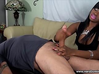HandDomination interracial femdom handjob